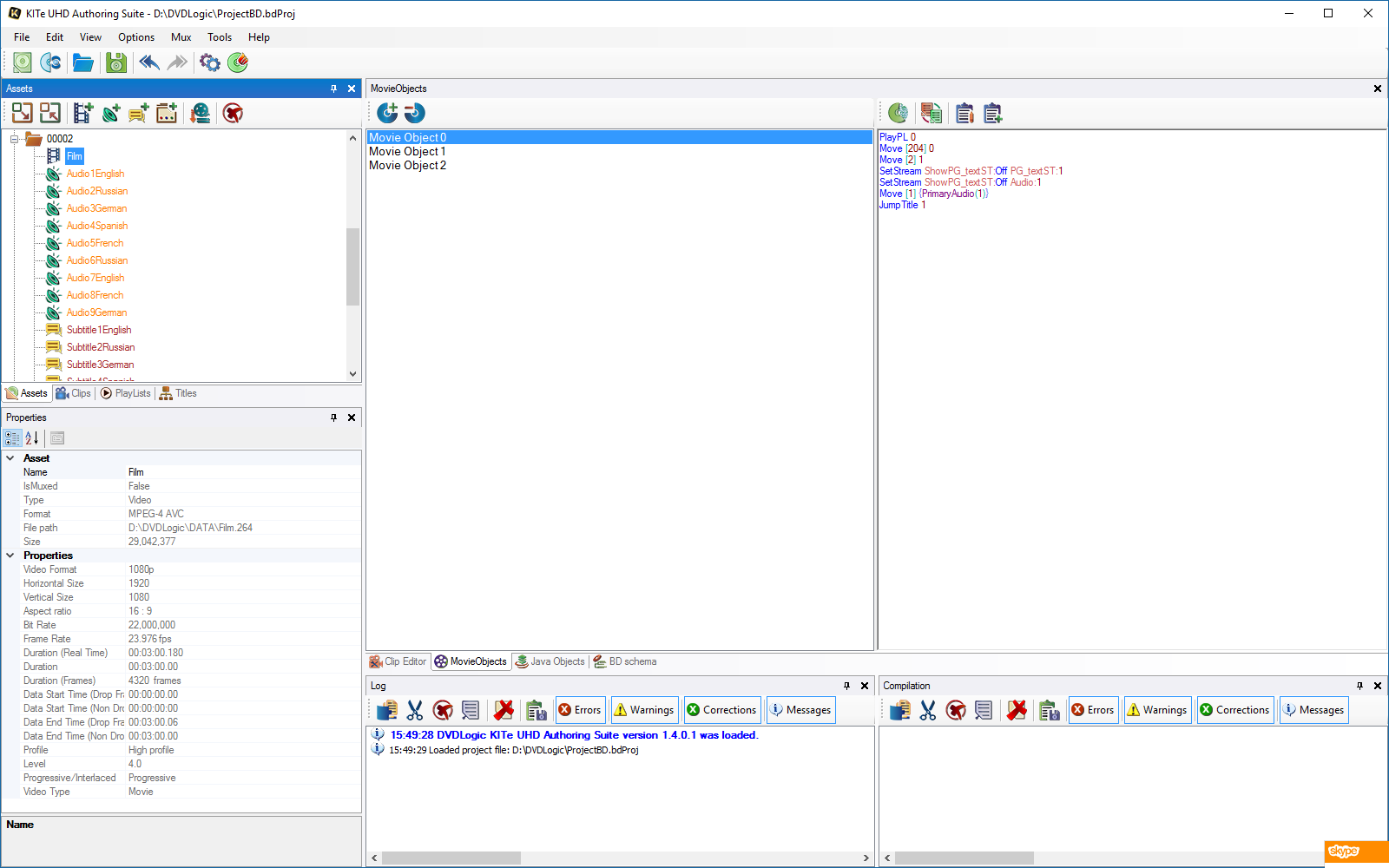 HDMV commands editor